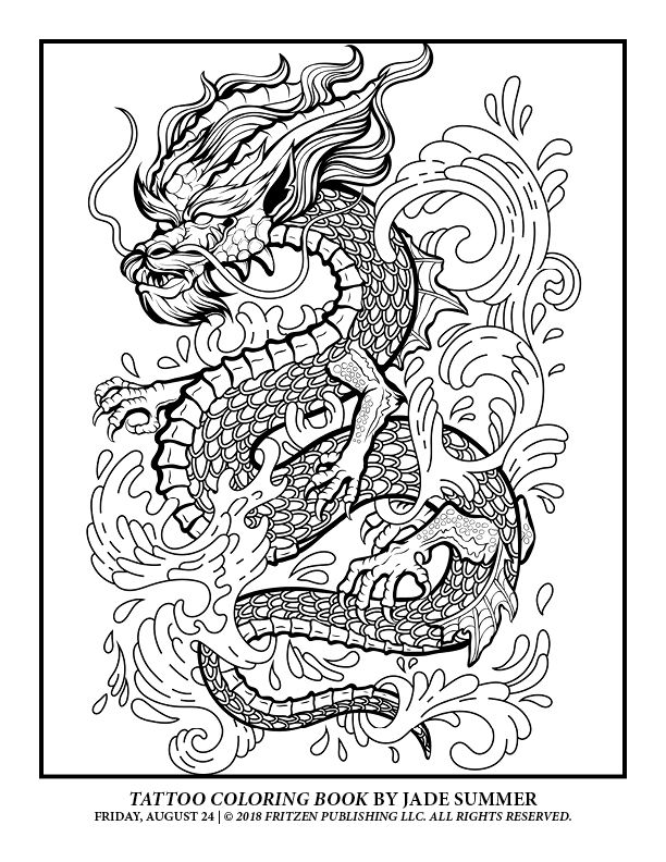 Tattoo Coloring Book Free Tattoo Pages For Adults Jade Summer Tattoo Coloring Book Summer Coloring Pages Dragon Coloring Page