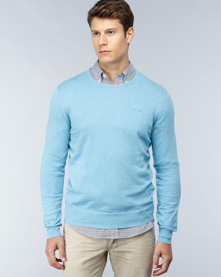 BEN SHERMAN Light Blue 100% Wool Crew Neck Sweater ...