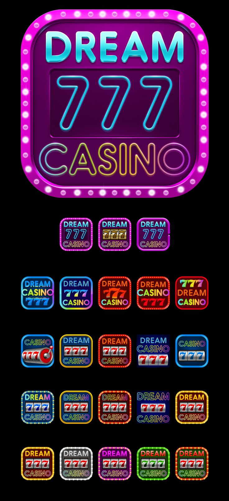 "Graphic design of main icon for the game slot-machine ""Dream casino 777""http://slotopaint.com/"