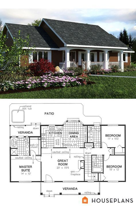 Elevation and plan for simple 1400sft country house