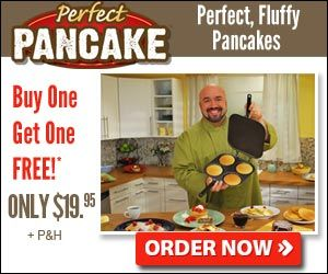 With the Perfect Pancake Maker cooks perfect pancakes the fast, easy, spatula free way every time! Make four perfect, fluffy pancakes at the same time with the Perfect Pancake Maker! Just add your favorite pancake batter, close the lid, and flip the pan.
