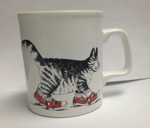 Vintage Kliban Kitty Cat CERAMIC MUG RED SNEAKER TENNIS SHOES Kiln ...