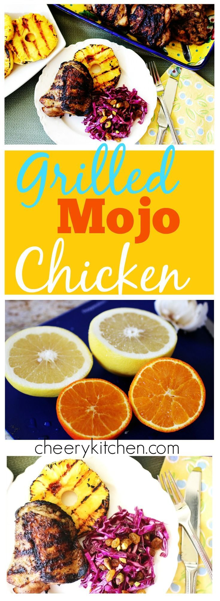 Grilled Mojo Chicken is easy and beyond delicious. Whirl the citrus marinade in your blender and pour over chicken. The next day grill and enjoy the tastiest chicken ever!