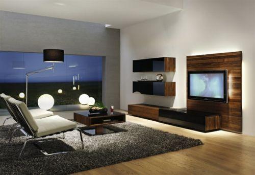 elegante Wohnzimmer Möbel eingebaut regale bildschirm stehlampe teppich