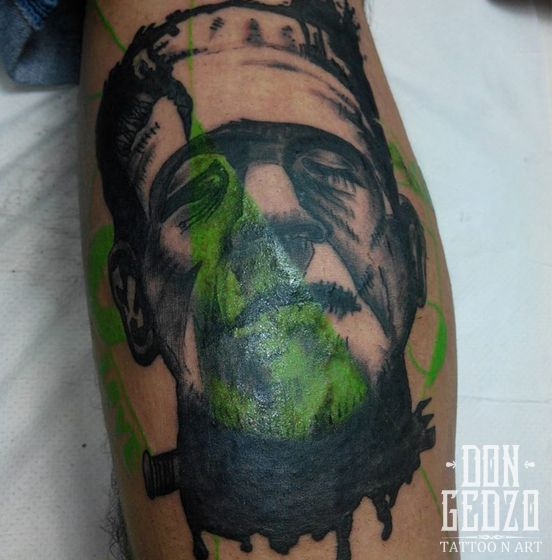 abstract frankenstein tattoo