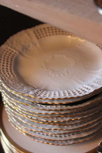 A stack of Meissen plates via Romancing the Home