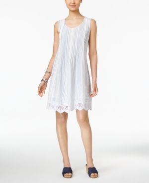 Style & Co Petite Cotton Eyelet-Hem Fit & Flare Dress, Created for Macy's -