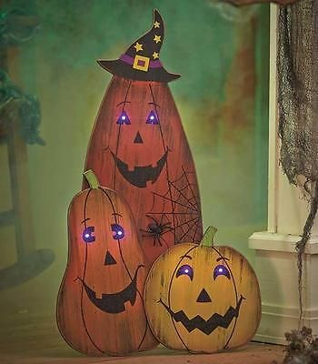 Lighted Outdoor Halloween Lawn Decorations : Wooden PUMPKINS w/ Light Eyes