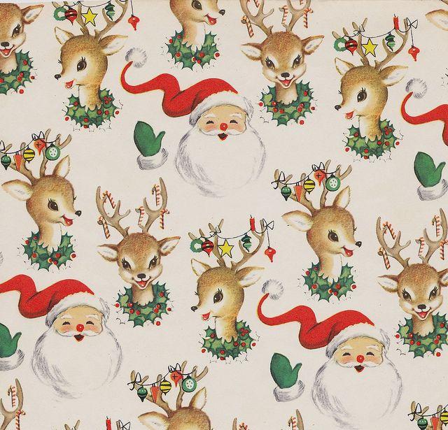 Vintage Christmas Wrap Santa and Reindeer makes me think of @trinketsmarket
