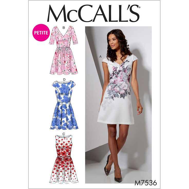 Misses and Miss Petite Bateau or V-Neck Dresses McCalls Sewing Pattern 7536.