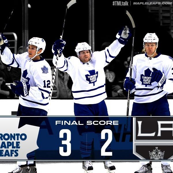 Leafs beat Kings in L.A. 3-2 on late short handed goal by Raymond.  Reimer was excellent after Bernier leaves after first period.  March 13th, 2014