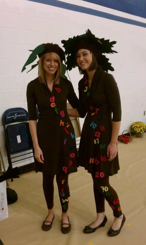 Chica Chica Boom Boom and Chica Chia 123 Halloween costume for teachers!  Hat, numbers, and letters cut from felt.