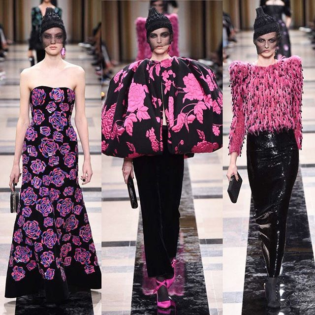 Fuchsia rose takeover at #GiorgioArmaniPrivé./ Цветущий розовый сад и шляпки с вуалью в коллекции Giorgio Armani Privé. Все луки - на Vogue.ru  via VOGUE RUSSIA MAGAZINE OFFICIAL INSTAGRAM - Fashion Campaigns  Haute Couture  Advertising  Editorial Photography  Magazine Cover Designs  Supermodels  Runway Models