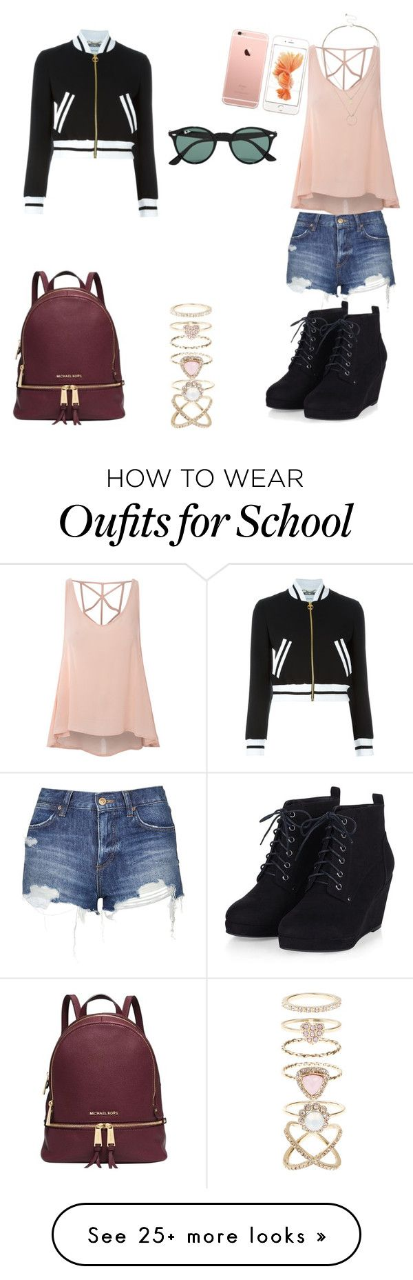 """""""Back to school"""" by hana-hvas on Polyvore featuring Moschino, Glamorous, Topshop, Michael Kors, Ray-Ban, Accessorize, Sole Society, women's clothing, women and female"""