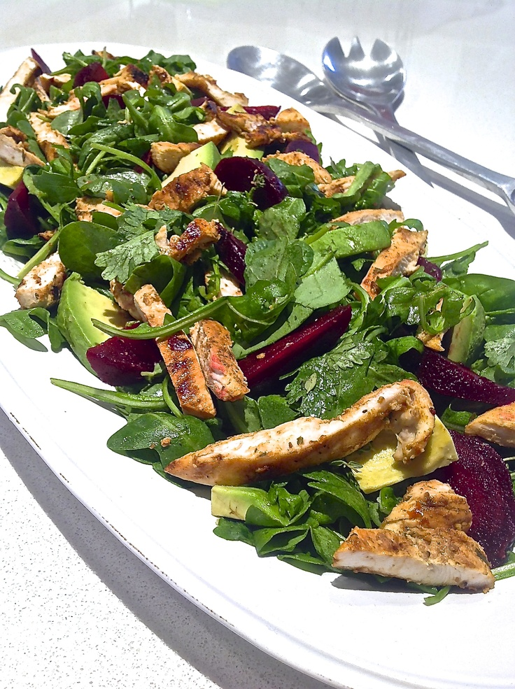 Lemon Mustard Chicken with Beetroot and Avocado Salad. Serves 4. https://itunes.apple.com/app/clean-eating-recipes/id553771127