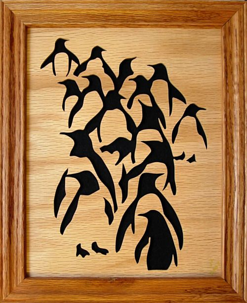 "penguin scroll saw pattern | Penguin Parade"" (pattern by Joscrolls at FSP) completed on 18 Mar ..."