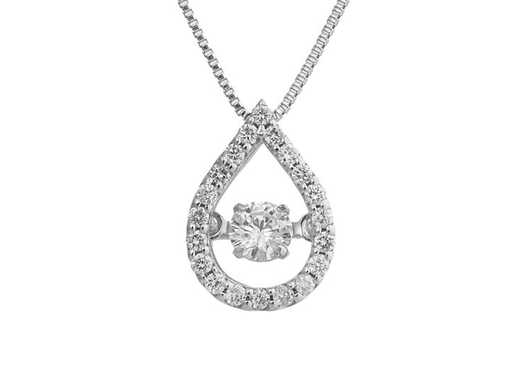A Delicate Pear Shaped 18ct White Gold and Diamond Pendant