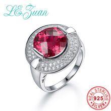 I & zuan 925 Sterling Prata Anéis Romentic 7.123ct Xadrez Corte de Pedra Vermelha Anel De Luxo Fine Jewelry Para Mulheres