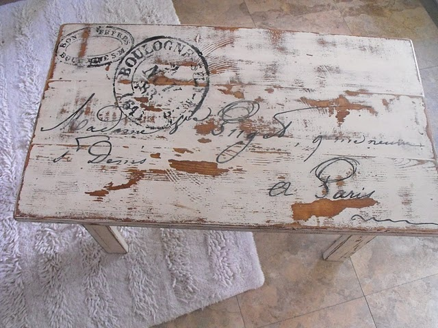 Piano bench idea.  She enlarged the graphic, scribbled pencil on the back, then drew over it to leave the imprint.  Last step was to paint-pen it, then glaze the top.