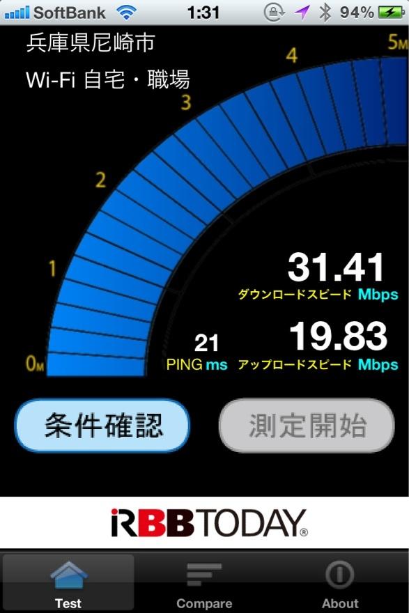 自宅でのイーモバイル・Pocket WiFi LTE GL04P でのスピードテスト結果。