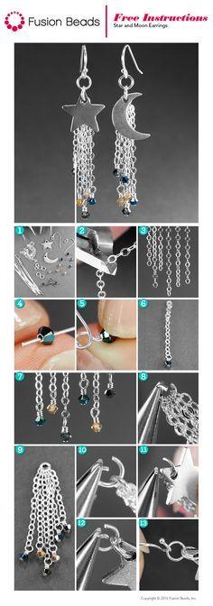** DIY Moon & Stars Dangle Chain Earrings @fusionbeads