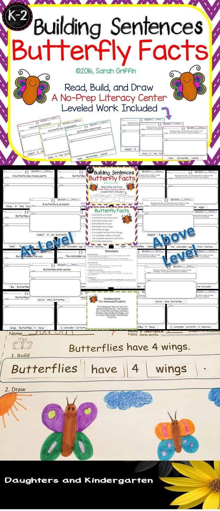 K, 1st, and 2nd grade writing and science, non-fiction, center. Building sentences about 10 butterfly facts.  Cut and paste worksheets and leveled work included.