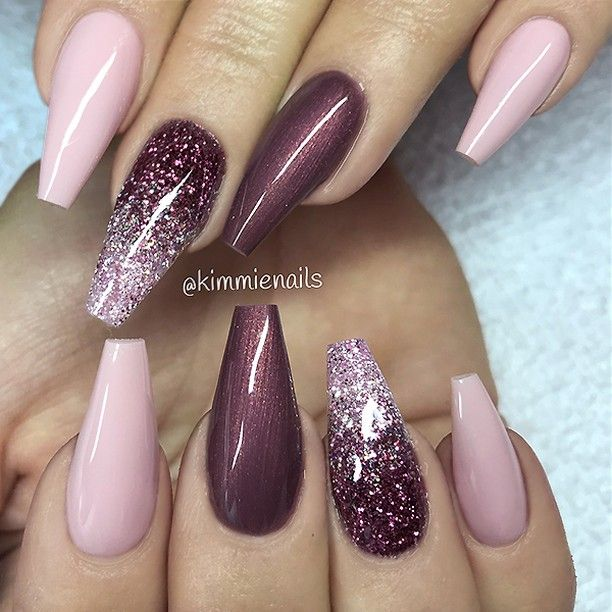 ✨ REPOST – – • – – Soft Pink, Aubergine and Glitter Ombre on Coffin Nails …