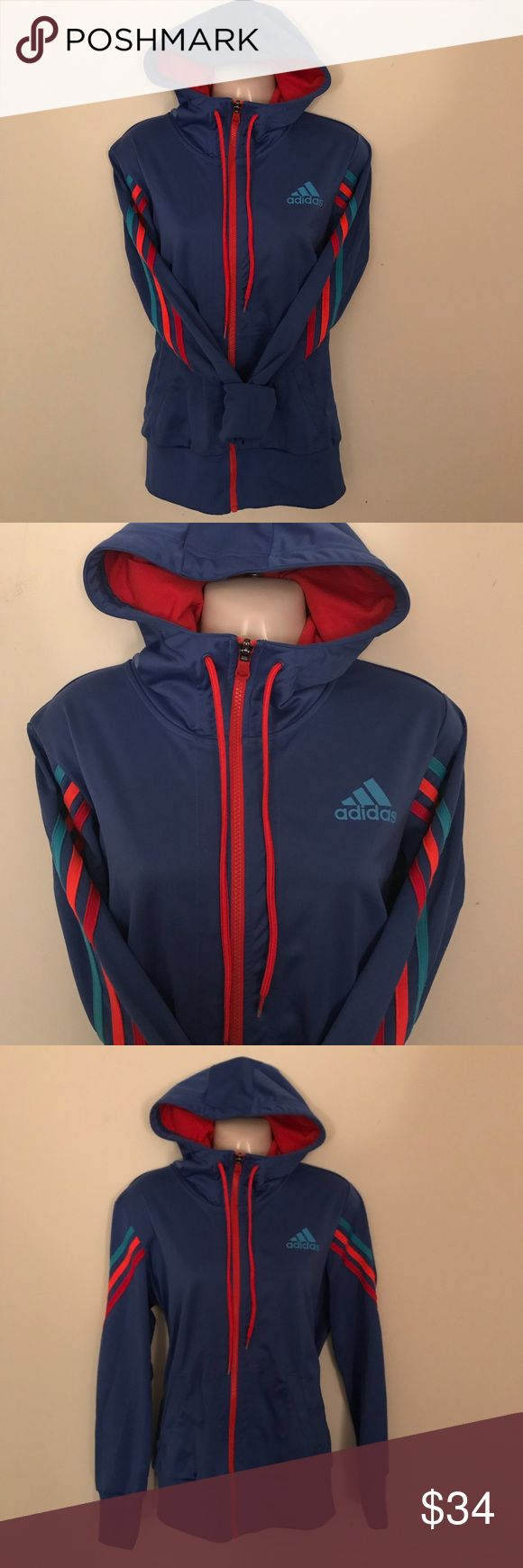 "adidas Women's Hooded Striped Zip Up Track Jacket Gently worn twice.  Size Medium Length: 27"" 100% Polyester Nonsmoking household. adidas Tops Sweatshirts & Hoodies"