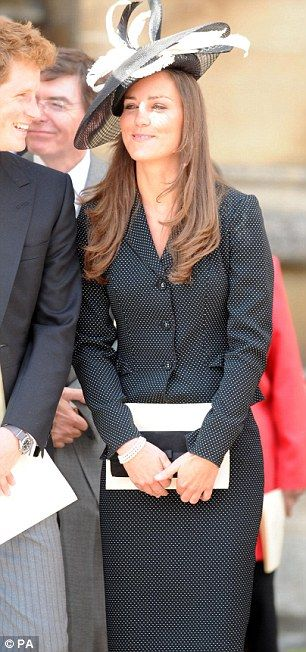 The Duchess of Cambridge wearing a black and white disc-shaped Philip Somerville to the Order of the Garter at Windsor in 2008