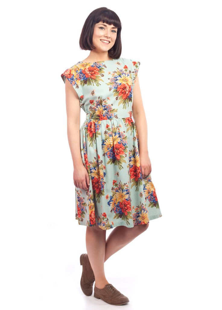 The vivid floral Sylvia dress from Circus, at Carousel #floral #bright #vintage #style #40s #dress
