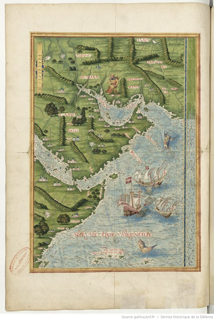 Universal Cosmography from Guillaume Le Testu - 1555 - The Red Sea and the Persian Gulf Source : Bnf