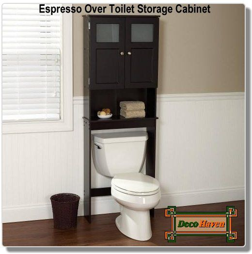 Espresso Over Toilet Storage Cabinet - This Espresso Over Toilet Storage Cabinet will conveniently fit over standard toilet tanks. This 66-1/2-Inch tall unit features paneled doors with a frosted, tempered glass window that conceals a large storage space 7-Inches deep. The espresso color laminate finish and brushed chrome door pulls wipe clean simply with a damp cloth.  Only $159.00 plus FREE shipping!