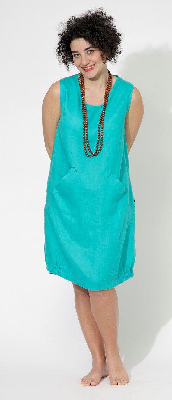 Summer linen dress with pockets