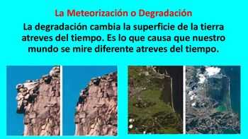 The following is a SPANISH PowerPoint about Weathering and Erosion. The Preview is in PDF format but the actual file is in PowerPoint format. The concepts seen in the PowerPoint aligns with concepts in the 5th Grade Science Spanish STAAR. The Power point includes-40 slides -Defines key concepts seen on the 5th Grade Spanish STAAR-Explains the process of weathering-Explains the process of erosion-Explains the formations of land forms seen in 5th grade science STAAR  (Deltas, Canyons, Sand…