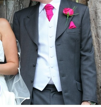 Grooms & Groomsmen suit colour & style - but with orange/coral instead of pink