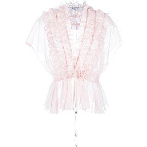 Givenchy ruffle placket semi-sheer blouse