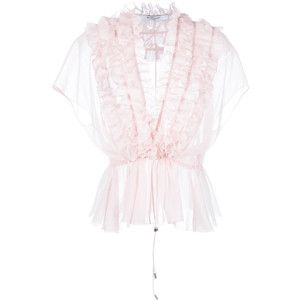 Givenchy ruffle placket semi-sheer blouse