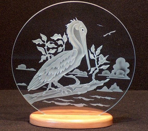 Carved Glass Pelican 12 inch Circle with Base