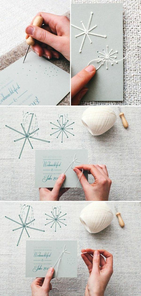 weihnachtskarten basteln garn schneeflöckchen