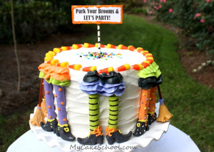 Park Your Brooms & Let's Party!  A Witchy Blog Tutorial from MyCakeSchool.com