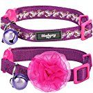 "Blueberry Pet 4 Designs Pack of 2 Cat Collars, The Power of All in One Stunning Plum Adjustable Breakaway Cat Collar with Bell & Detachable Flower, Neck 9""-13"""