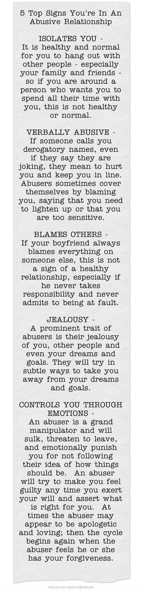 5 Top Signs You're In An Abusive Relationship - It gets worse, not better. OPEN YOUR EYES!