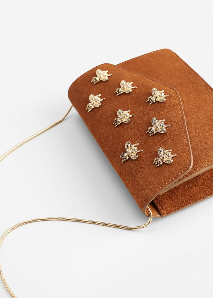 Appliqué leather bag | MANGO