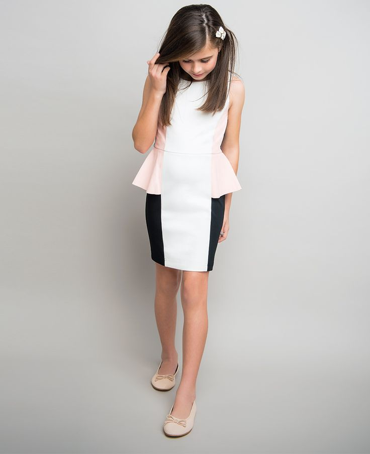 Girl's PU Peplum Dress - Bardot Junior