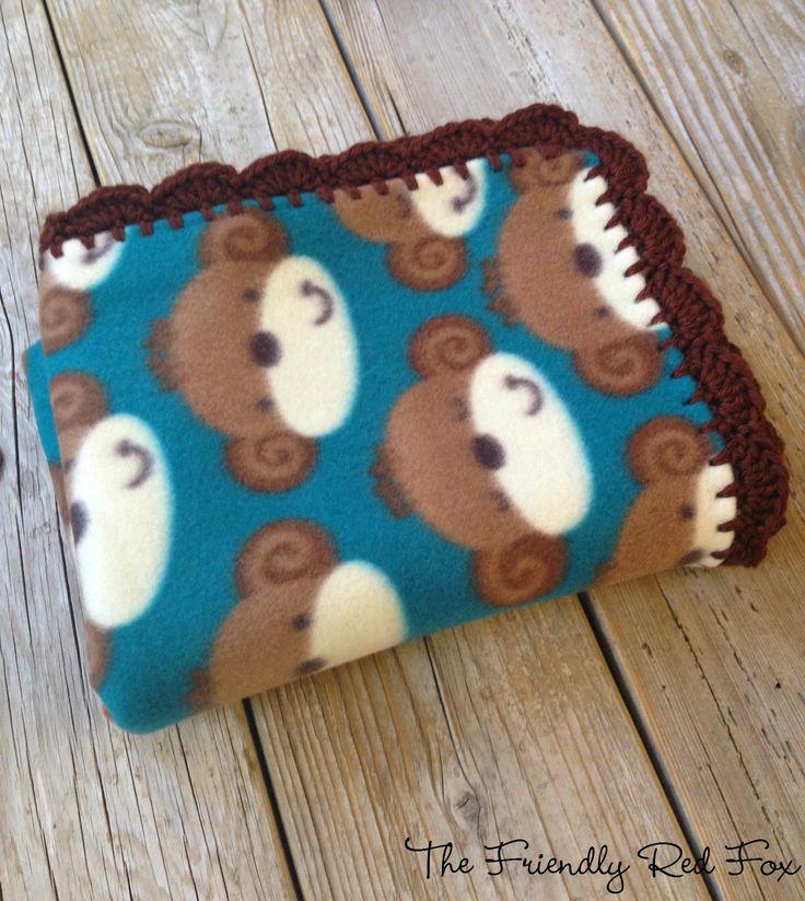 Crochet - The Friendly Red Fox: Crochet Edge on Fleece Blanket Tutorial