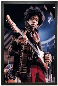 3D lenticular Wall Art of musician Jimi Hendrix playing guitar.