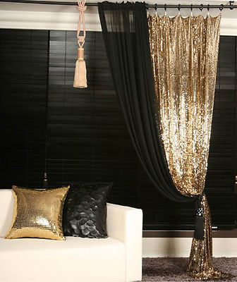 Gold Sequins Beaded Curtain Drapery Panel Room Divider Handmade, Order-made