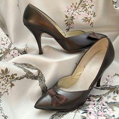 Brown ribbon   women shoes