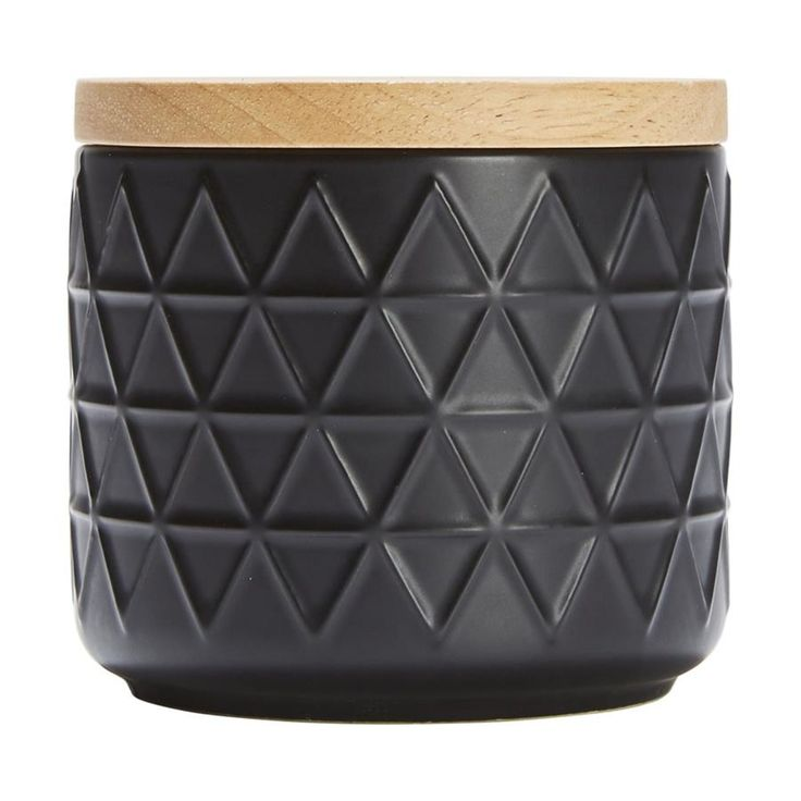 Small Black Embossed Canister   Kmart