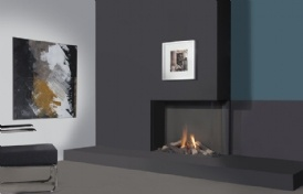 Unieke, hoge (75 cm) en 100 cm brede hoekhaard met zeer realistisch vlambeeld